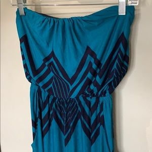 Teal and navy chevron strapless dress with pockets